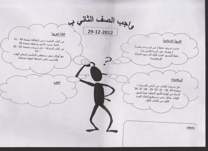 واجب الصف الثاني ب 29-12-2012